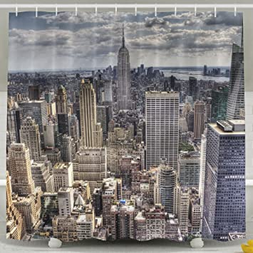 FDLB An Aerial View Over New York City Shower Curtain Bath With Hooks 60x72quot