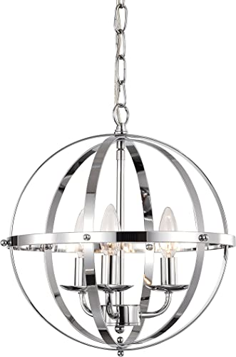 Chandelier Modern Orb Chandelier Lighting Three- Light Pendant Lighting Globe Chandeliers for Foyer Lighting Adjustable Pendant Light Fixtures Chrome Chandelier with UL Listed