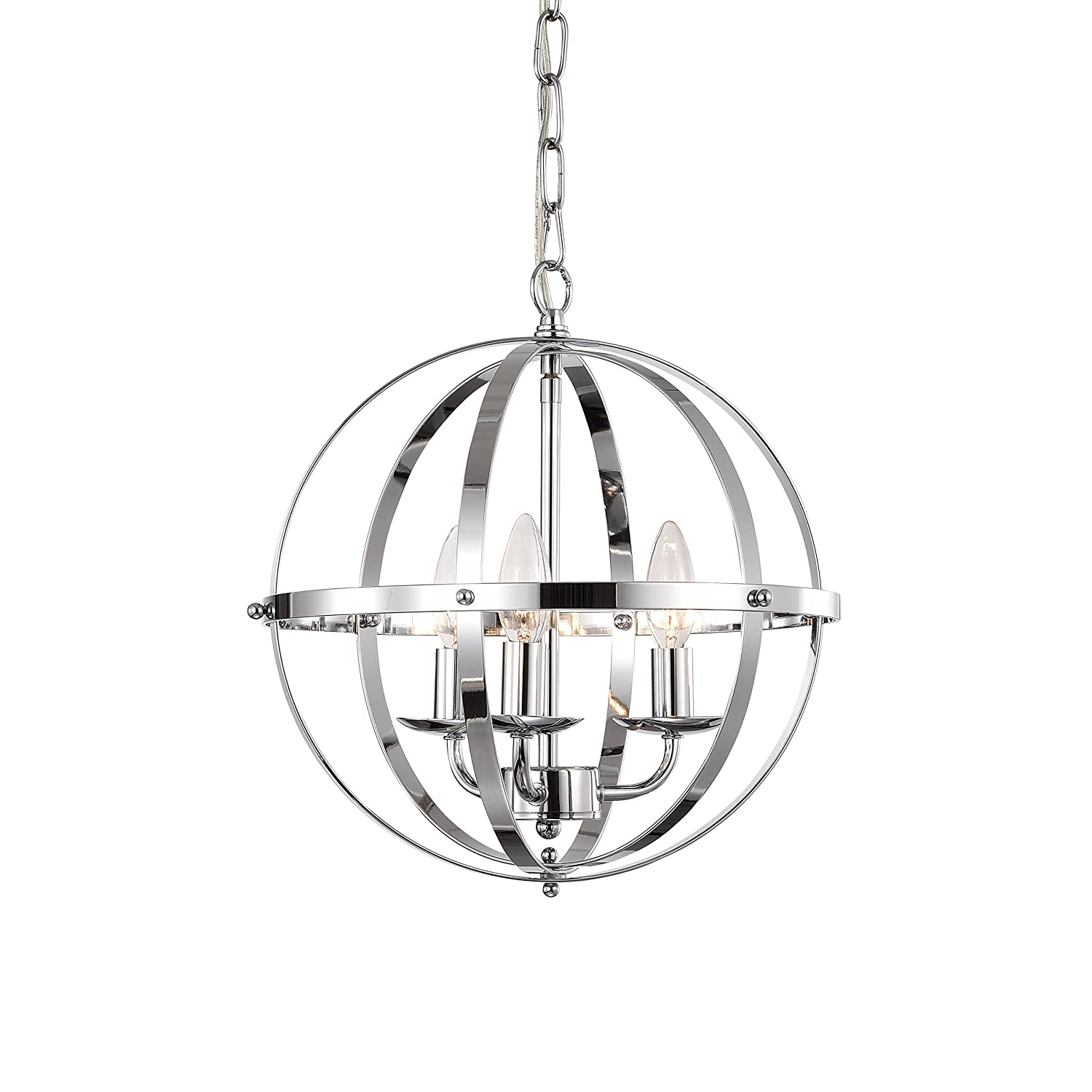 LaLuLa Chandeliers Orb Chandelier Three- Light Pendant Lighting Globe Chandeliers for Foyer Lighting Adjustable Pendant Light Fixtures Chrome Chandelier with UL Listed