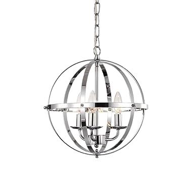 LaLuLa Chrome Chandelier Lighting Industrial Globe Chandeliers 3 Light Metal Ceiling Light Fixture 17176