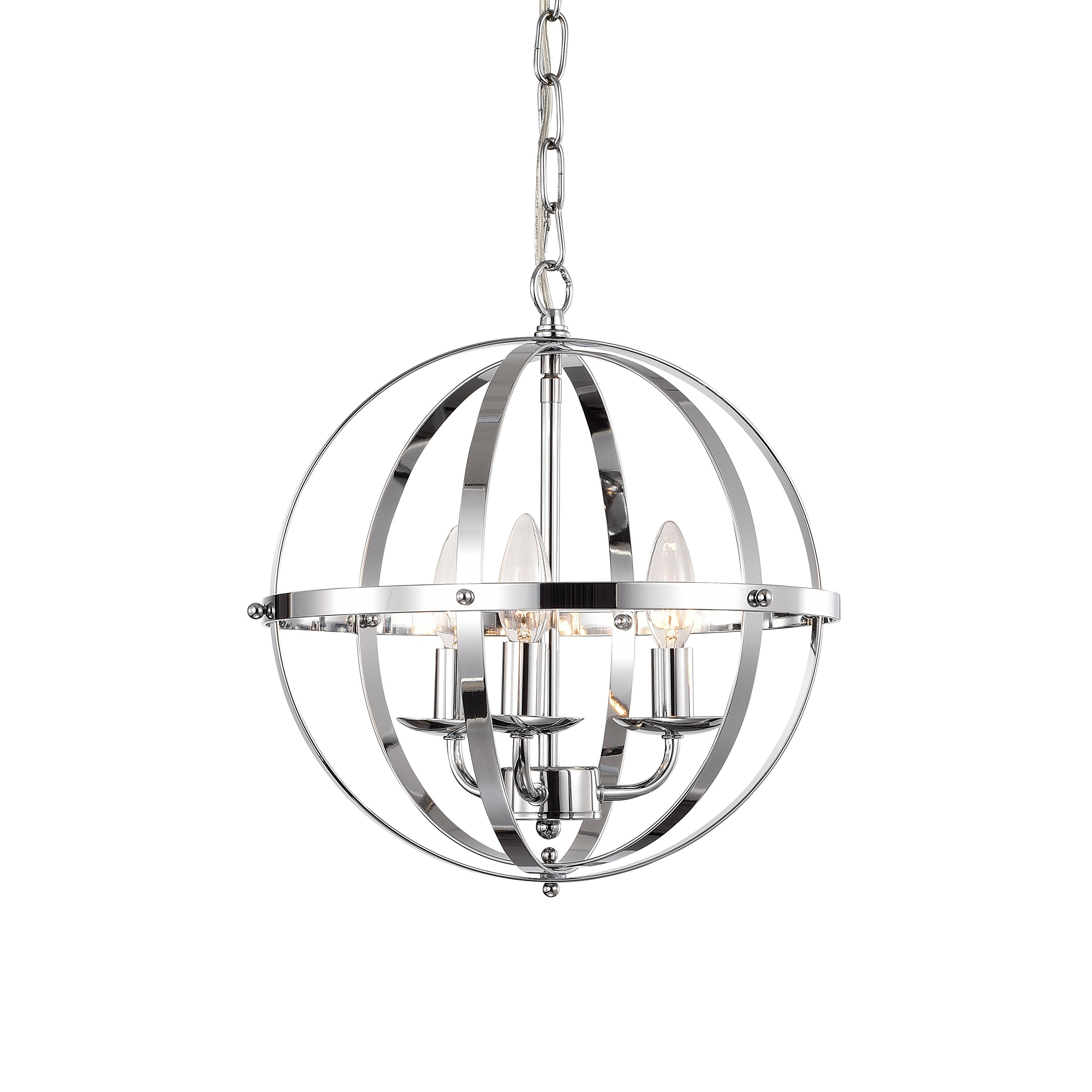 LaLuLa Chrome Chandelier Lighting Industrial Globe Chandeliers 3 Light Metal Ceiling Light Fixture 17176