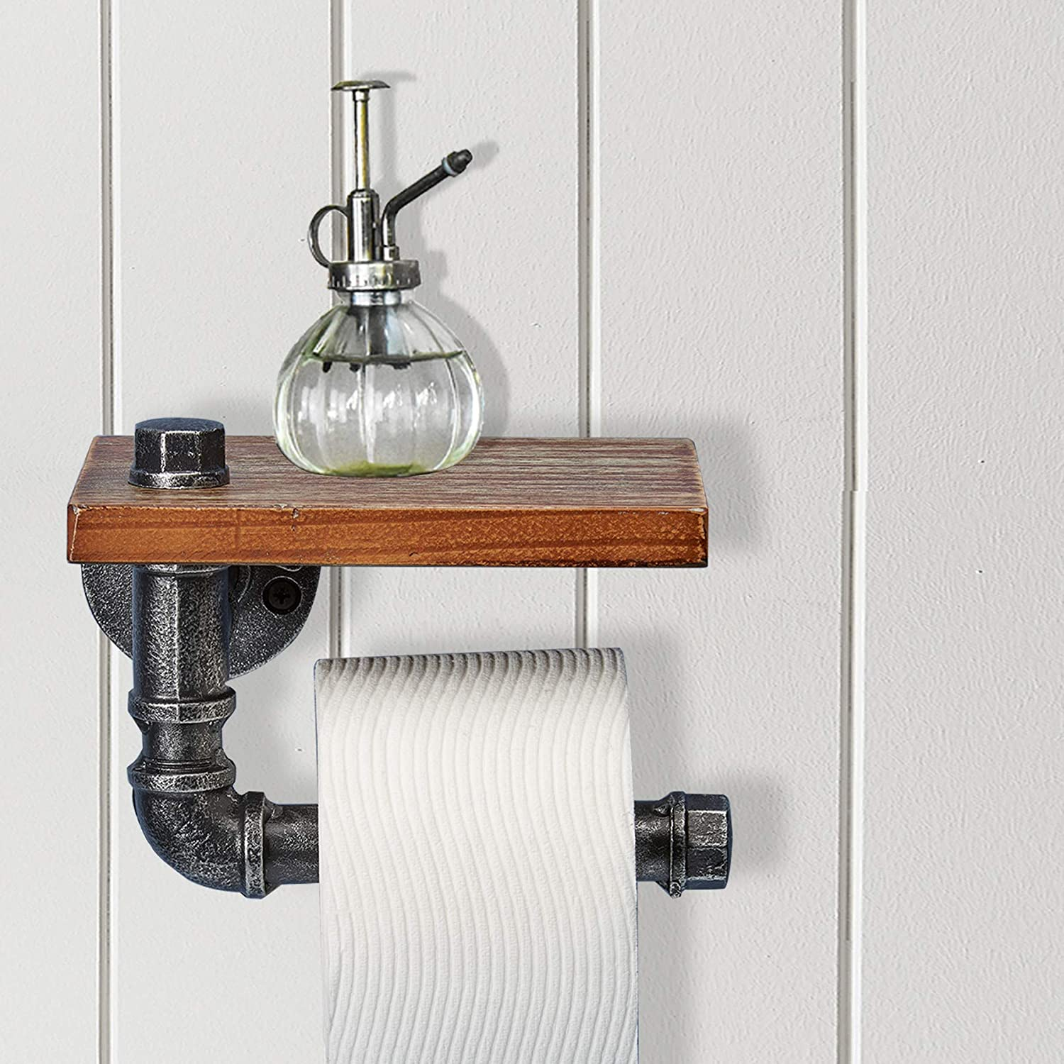 "Rustic Vintage Decorative Toilet Roll Holder with Shelf 8/"" x 6/"" Barnyard Designs Industrial Wall Mounted Toilet Paper Holder with Shelf"