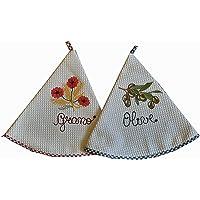 2 ronde theedoeken, wafelpiqué, met borduurwerk, afmetingen 71 x 71 cm, gemaakt in Italië, 100% katoen.