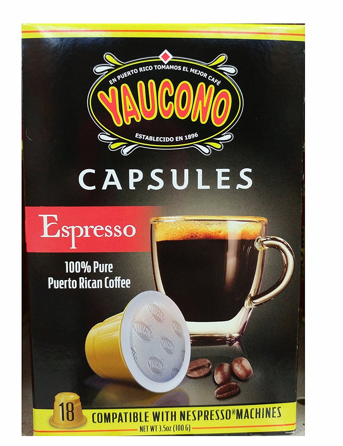 Amazon.com : Yaucono Espresso Puerto Rican Coffee Capsules for Machines (18 Capsule Box) : Grocery & Gourmet Food