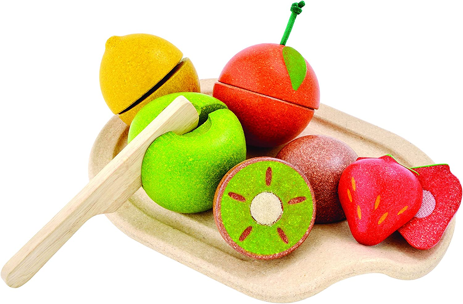PlanToys 7 Piece Assorted Fruit Kitchen Food Playset (3600) | Sustainably Made from Rubberwood and Non-Toxic Paints and Dyes