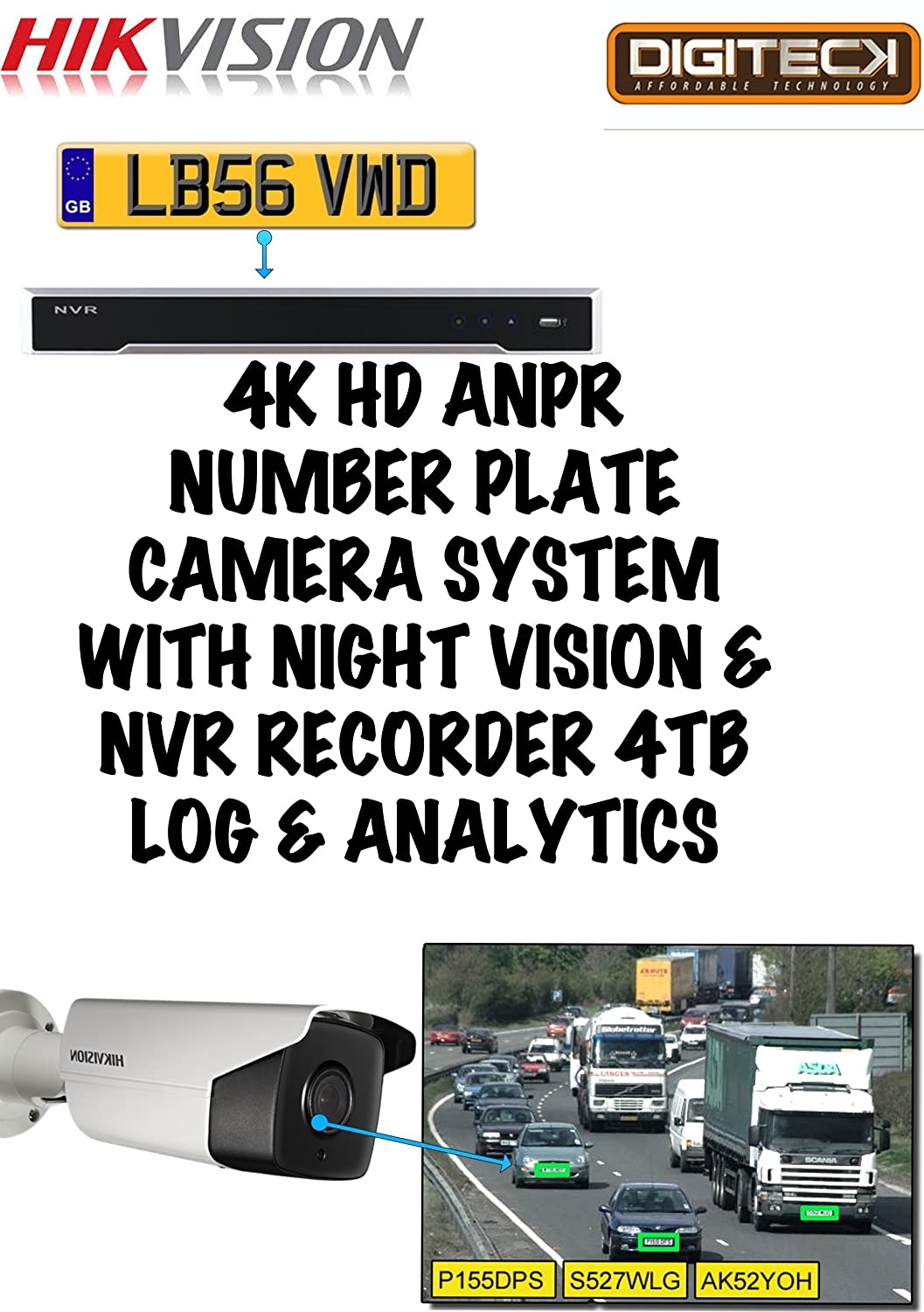 4K HD ANPR Number Plate Recognition Camera System Night
