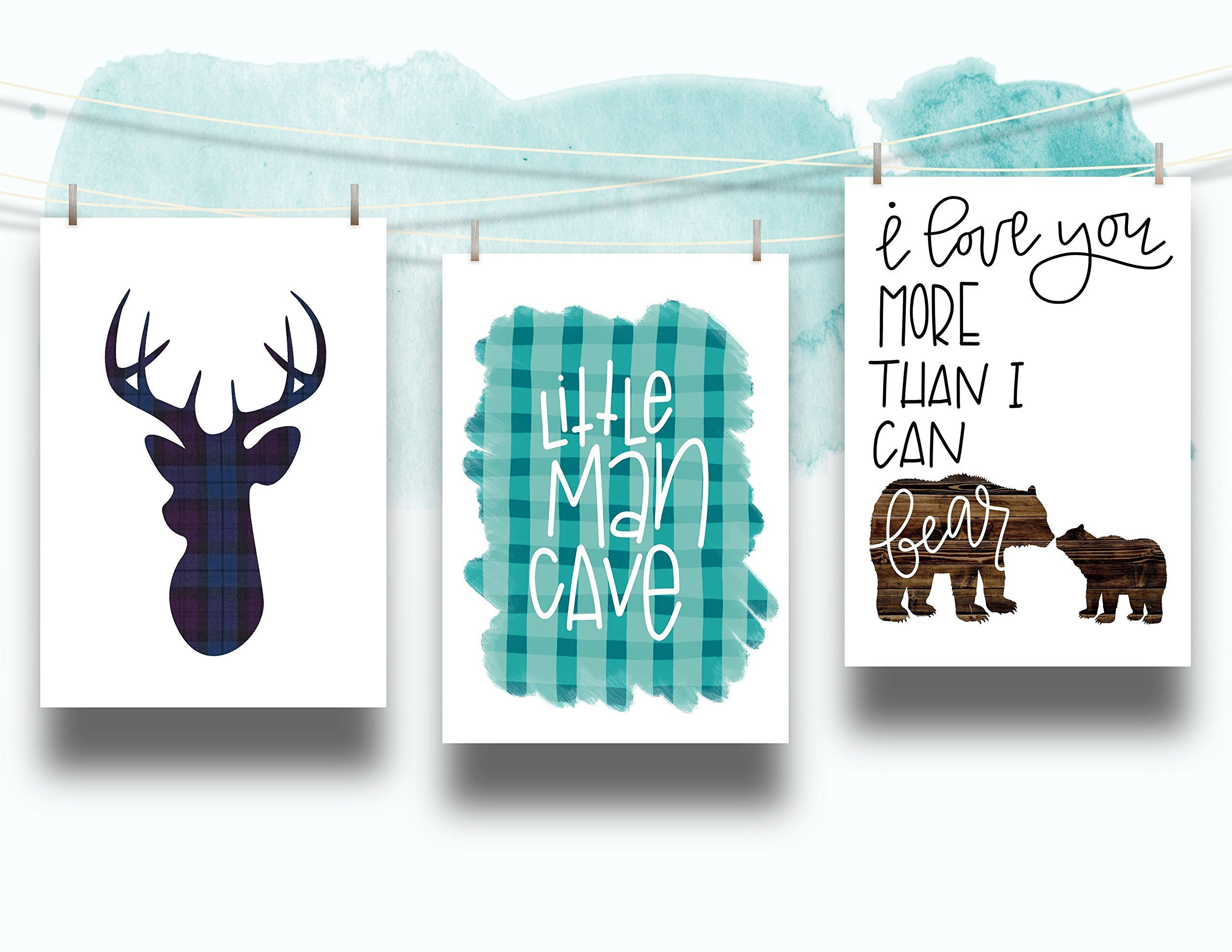 Set of 3 Woodland Animal Nursery Cardstock Prints - 8.5 x11'' Navy Teal Little Man Cave, Buffalo Plaid Deer Silhouette, I Love You More Than I Can Bear by June & Lucy