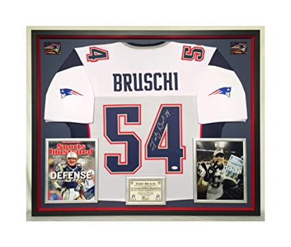 dc19469e6 Image Unavailable. Image not available for. Color  Premium Framed Tedy  Bruschi Autographed Signed New England Patriots Jersey ...