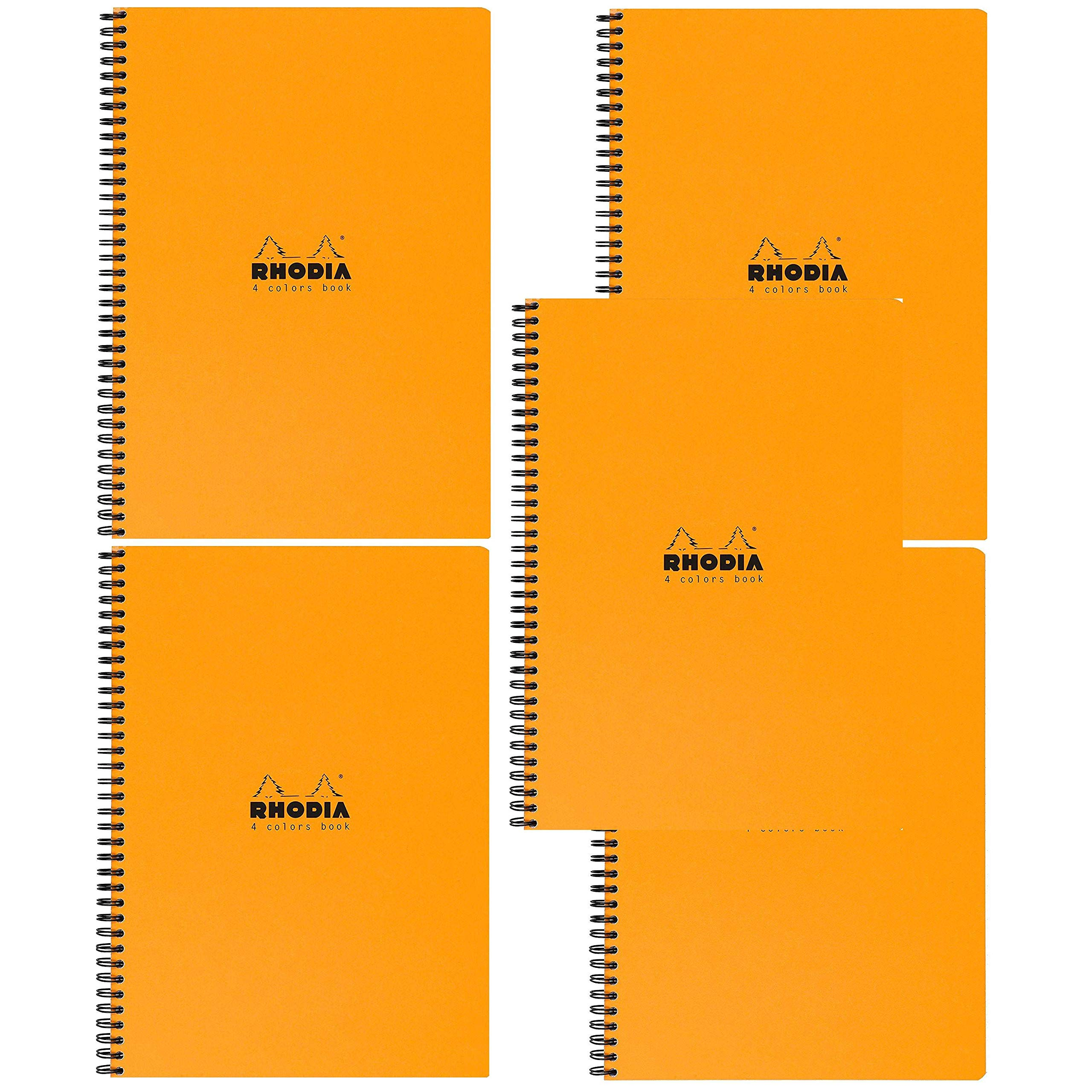 Rhodia 4 Color Book - Lined w/margin 80 sheets - 9 x 11 3/4 - Orange cover, Pack of 5 by Rhodia