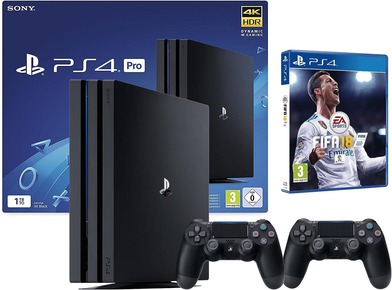 PS4 Pro 2 Mando + FIFA 18 (1TO, Negro, 2 x DualShock V2): Amazon.es: Informática