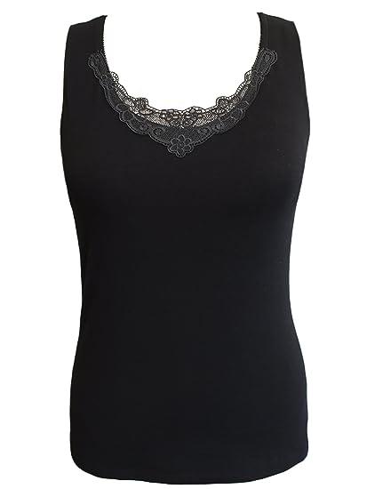 644bae67a Alessandra B Crochet Neckline Tank Top Underwire Camisole M3703... at  Amazon Women s Clothing store