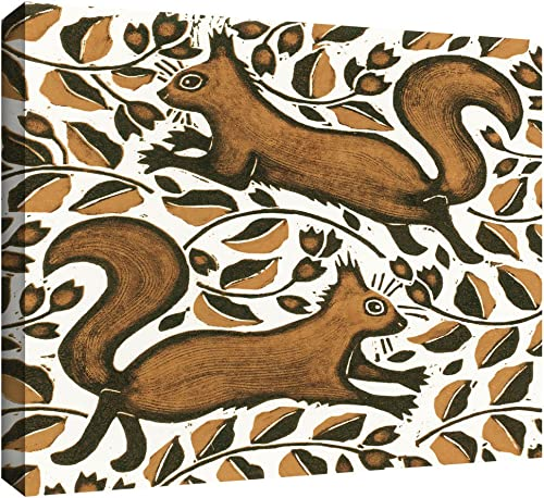 ArtWall NAT Morley Beachnut Squirrels Gallery Wrapped Canvas Artwork, 14 by 18-Inch