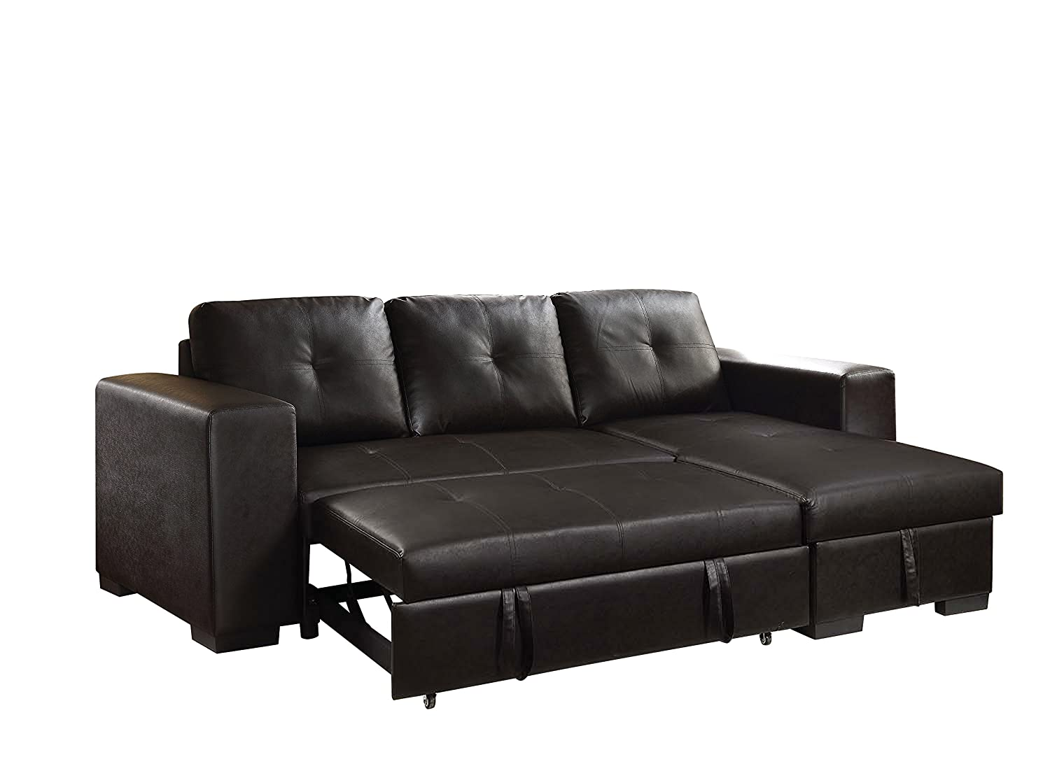 Amazon.com: ACME Lloyd Black Faux Leather Sectional Sofa with ...