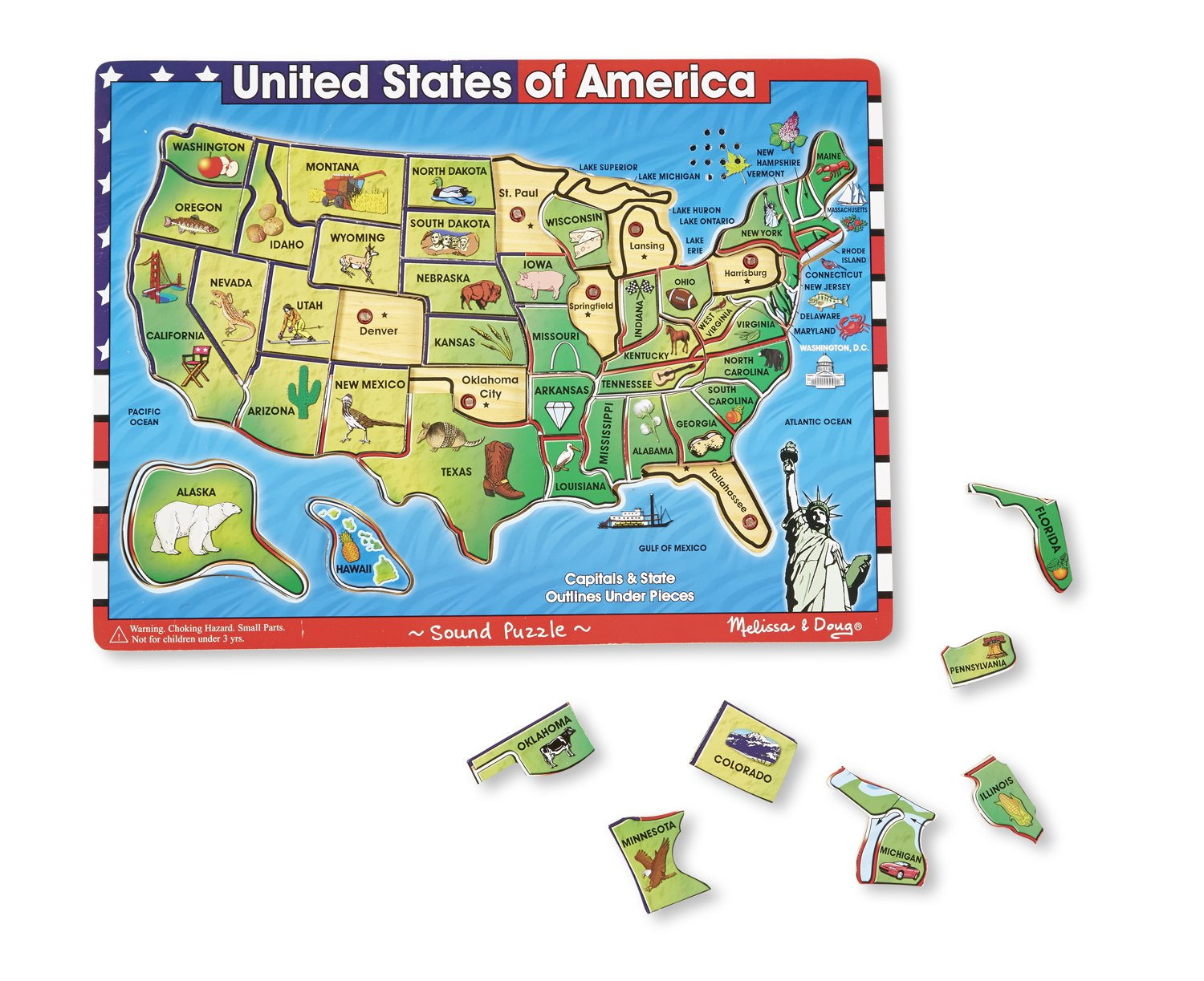 Amazoncom Melissa Doug USA Map Sound Puzzle Wooden Puzzle
