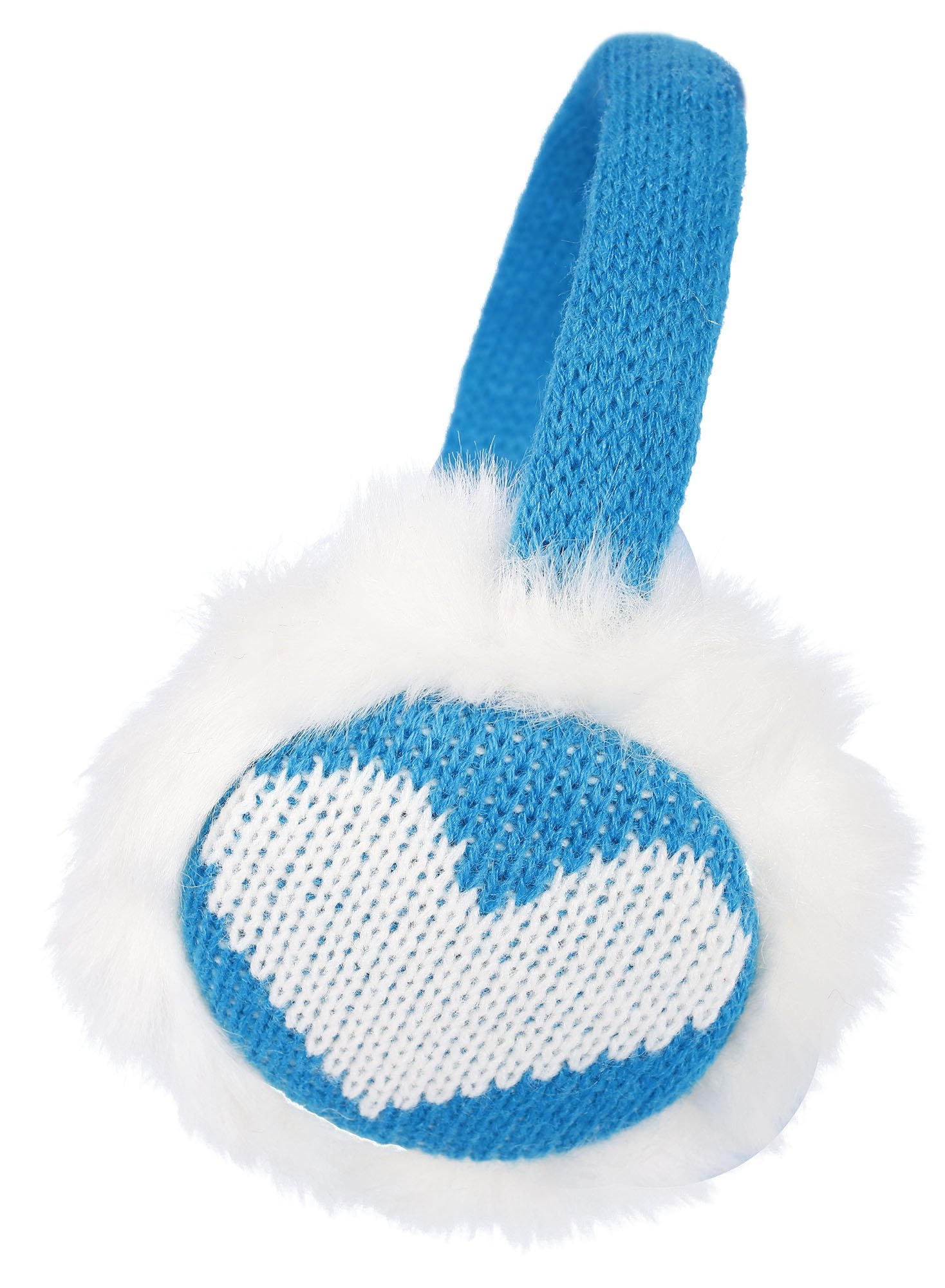 Simplicity Women's Winter Knitted Faux Fur Plush Earmuffs w/ Lined Trim (Blue)