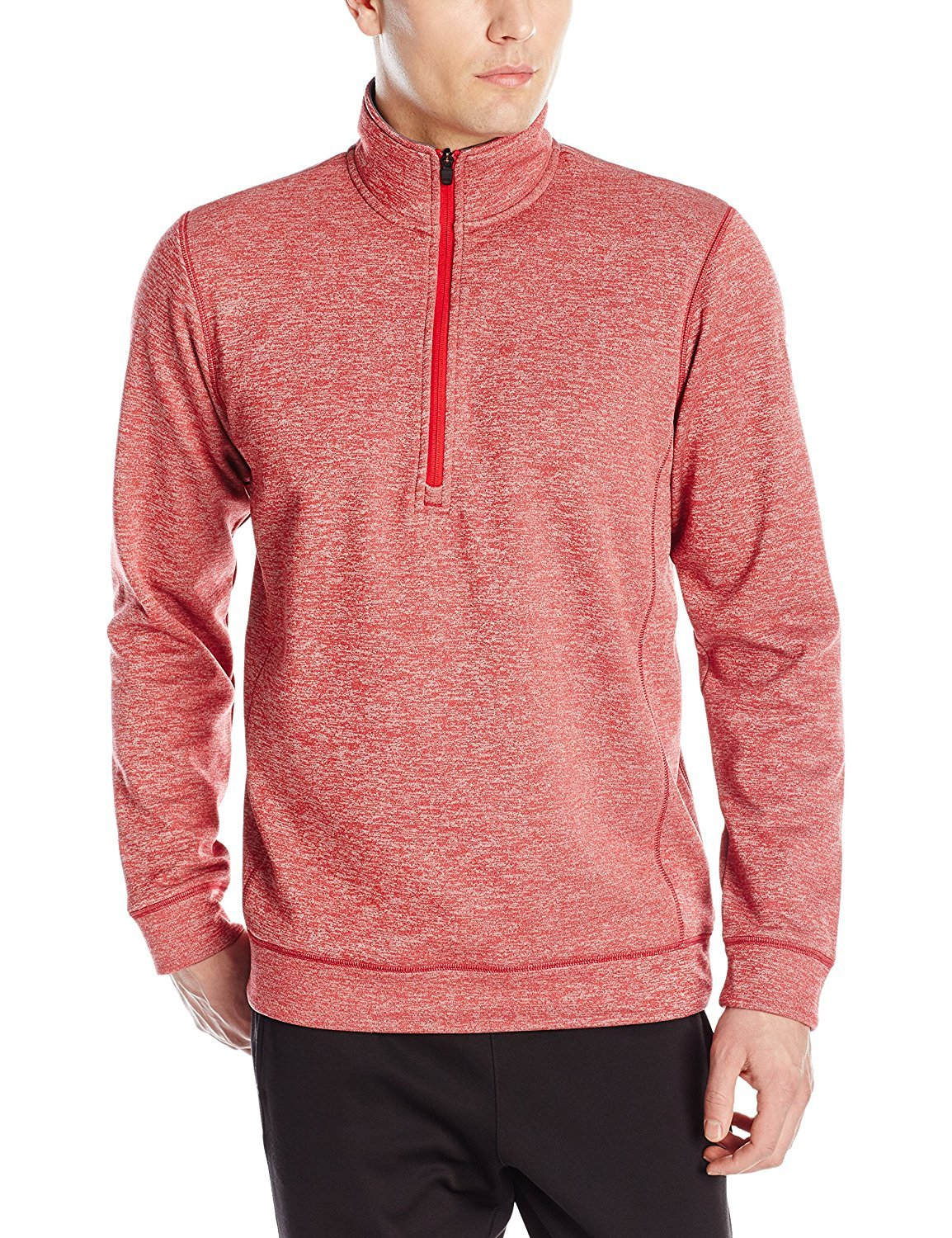 adidas Mens Climawarm Team Issue 1/4 Zip Long Sleeve, Power Red Heathered, Large