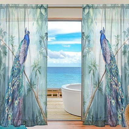 Amazon Com Seulife Window Sheer Curtain Tropical Bird Peacock Palm