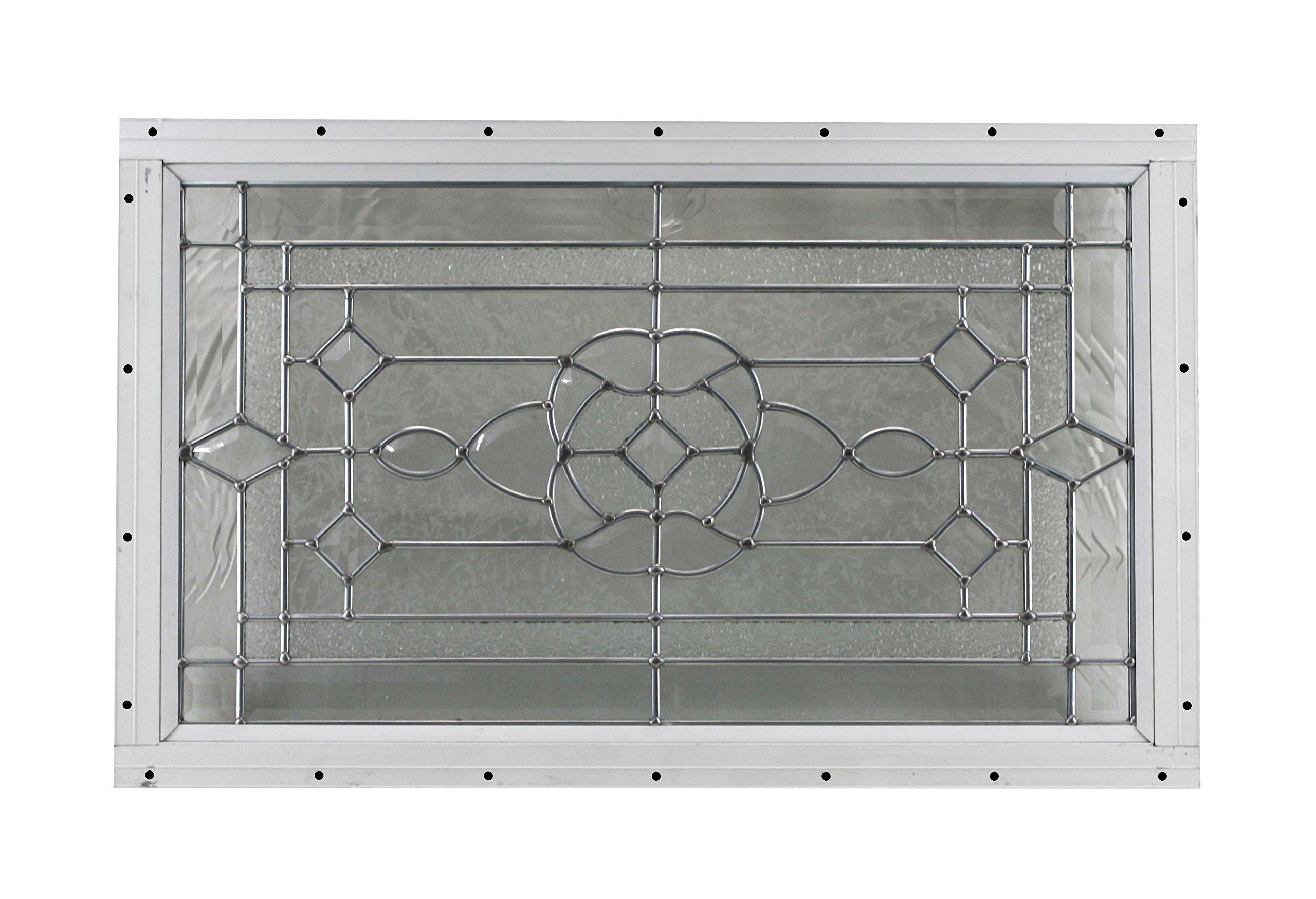 24'' x 14'' Decorative Cut Glass Flush Mount Shed Window