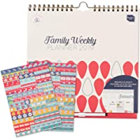 Boxclever Press Family Weekly Planner - Wall Calendar. Start Using Now 'til Dec 2019. Complete with 288 Colorful Reminder Stickers. Columns for up to six People. Easy Tear Off Weekly Grocery Lists.