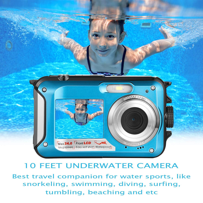 Waterproof Digital Camera Full HD 1080P Underwater Camera 24MP Video Recorder Camcorder Point and Shoot Camera Selfie Dual Screen Waterproof Camera for Snorkeling by HOCOMO (Image #3)
