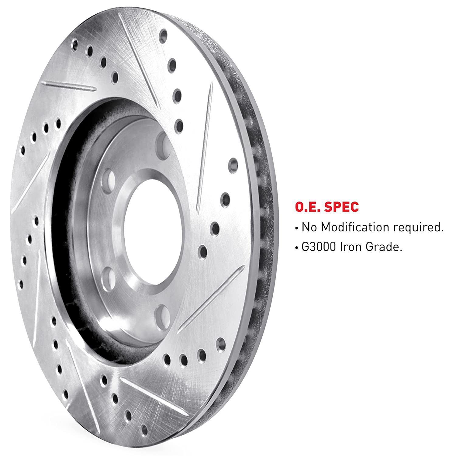 R1 Concepts CEDS10114 Eline Series Cross-Drilled Slotted Rotors And Ceramic Pads Kit Front and Rear