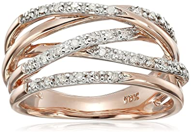 Amazoncom 10k Rose Gold Woven Diamond Ring 17 cttw IJ Color