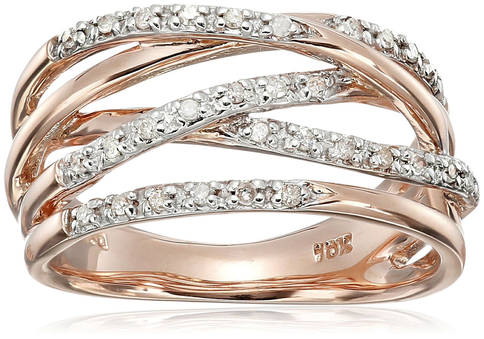 10k Rose Gold Woven Diamond Ring (0.14 cttw, I-J Color, I2-I3 Clarity), Size 6