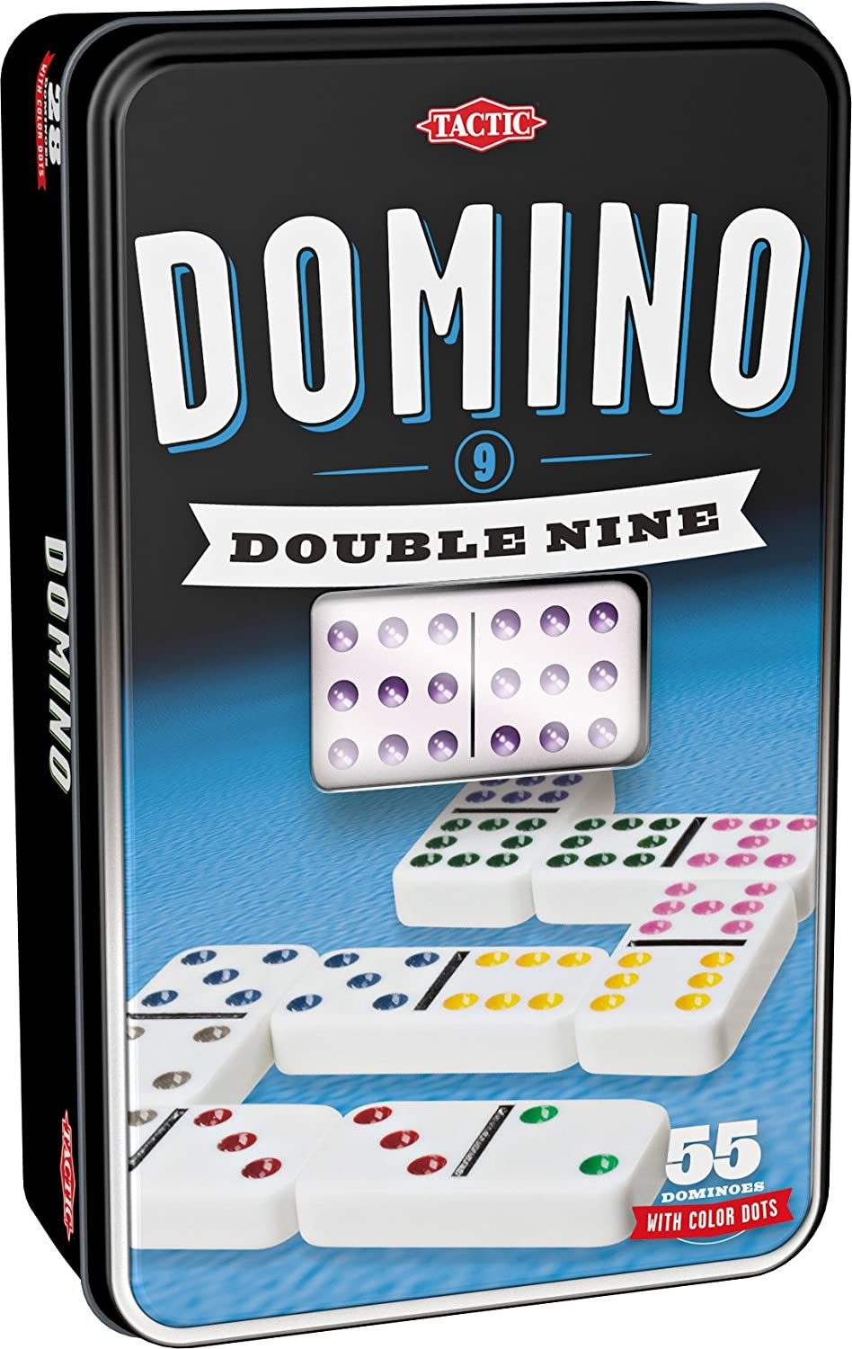 Details about  /Cardinal Industries Classic Games Double Nine 9 Color Dot DOMINOES Tin Set of 55