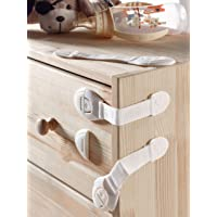 Child Safety Locks -VALUE PACK (10 Straps)- No Tools or Drilling -Adjustable Size/Flexible -Adhesive Furniture Latches…