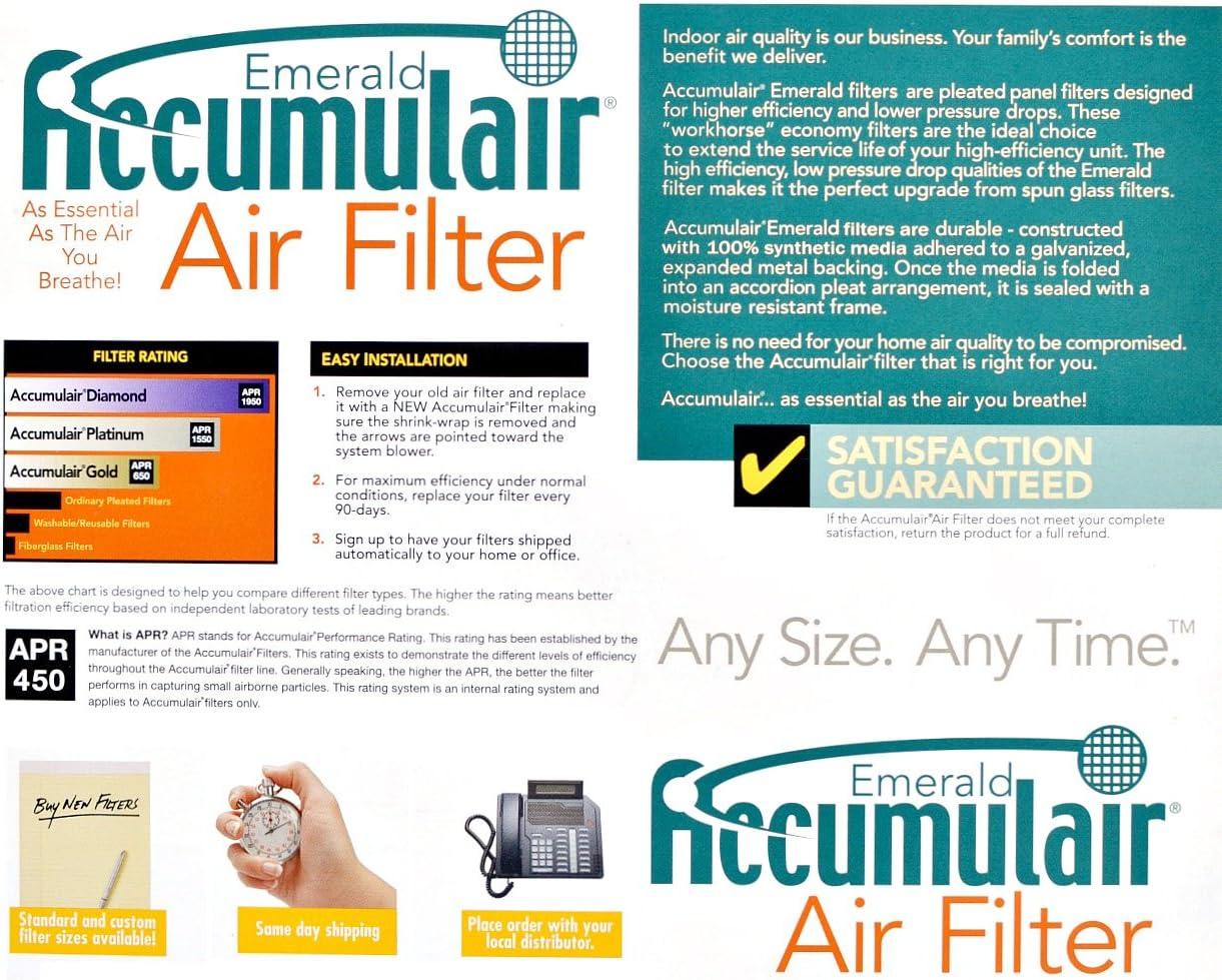 MERV 6 Air Filter//Furnace Filters Accumulair Emerald 21x21x0.5 2 Pack 20.5x20.5x0.5