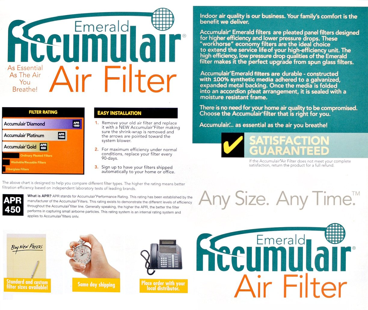 Accumulair FC16X36_4 MERV 6 Rating Air Filter/Furnace Filters, 16x36x1 (15.5 x 35.5) - 4 pack