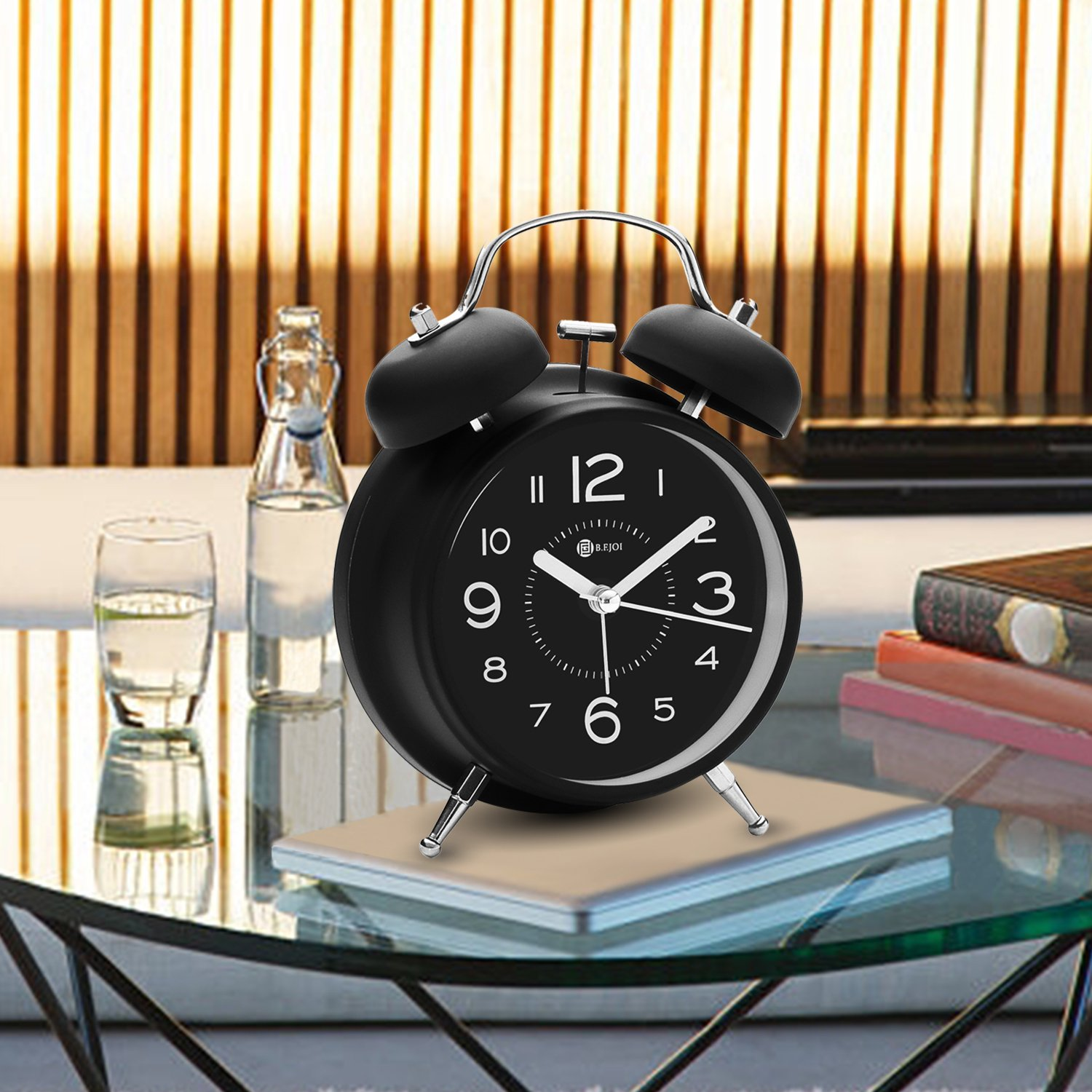 4'' Twin Bell Alarm Clock with Metal Dial, Nightlight, No Ticking Battery Operated Loud Alarm Clock for Bedroom (Black) by B.F.JOI (Image #6)
