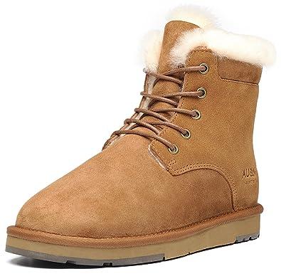 AUMU Womens Classic Lace Up Mid Calf Flat Fur Snow Boot Winter Boots