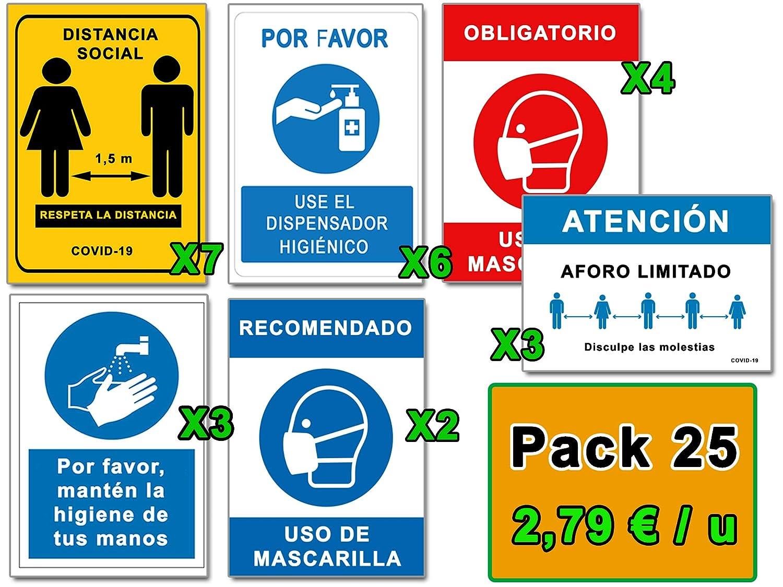 Señalización COVID 19 | Mega Pack Ahorro 25 Señales Coronavirus | 7 Distancia, 6 Dispensador, 6 Mascarilla, 3 Higiene Manos, 3 Aforo | Carteles Autoinstalables | 21 x 30 cm