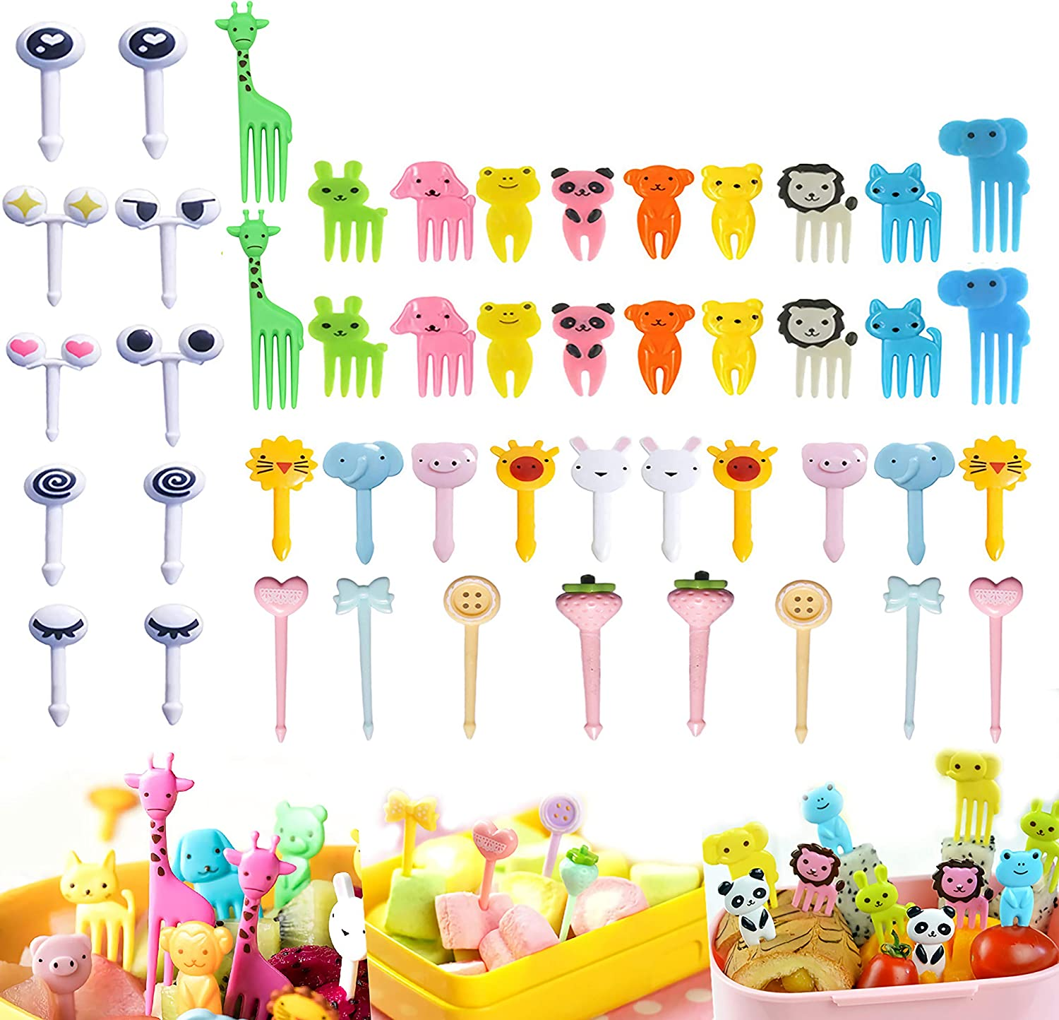 Animal Fruit Food Picks 48PCS, Bento Box Picks, LKAKA Mini Cartoon Animal Food Toothpicks, Lunch Bento Forks Picks for Kids (48PCS)