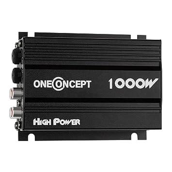 oneConcept Amplificador de coche de 4 canales (4x30w RMS, potencia máxima 1000W, diseño