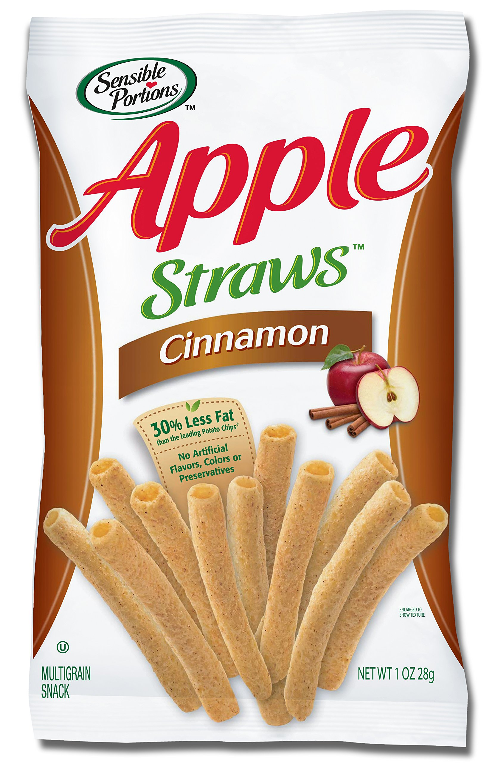 Sensible Portions Apple Straws, Cinnamon, 1 oz. (Pack of 24) by Sensible Portions