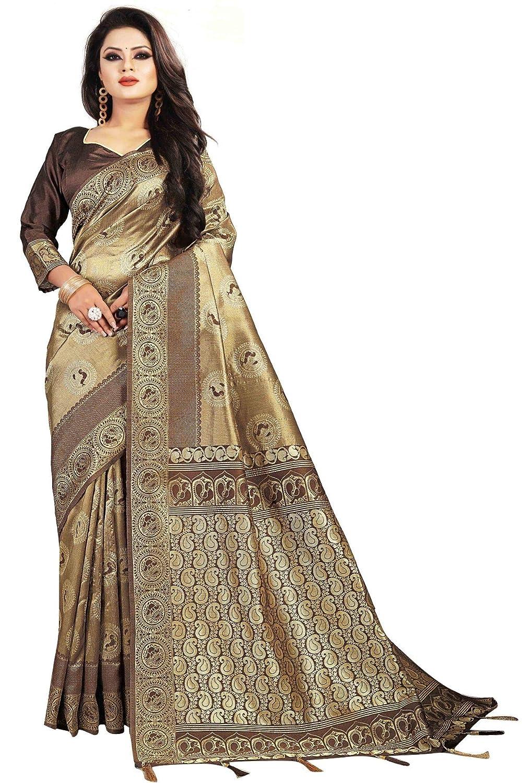 SareeShop Women's Jacquard Silk Saree with Blouse Piece (Grey)