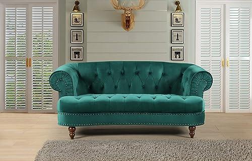 Container Furniture Direct Vivian Holder Modern Velvet Upholstered Nailhead Trim Chesterfield Living Room Loveseat, 69.29 , Green