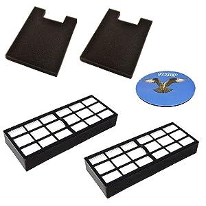 HQRP 2-Pack Filter Kit for Eureka DCF-16 62736 62736A E-62736 & Eureka HF-7 61850 61850F (61850A 61850B 39524) Replacement Coaster