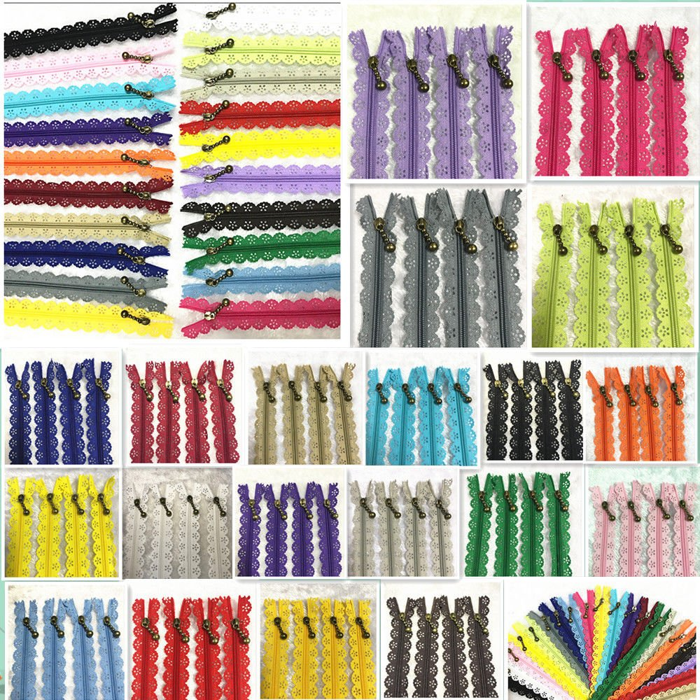 WKXFJJWZC 40Pcs Novelty (50cm) 20 inch Lace Closed End Zippers Nylon for Purse Bags for DIY Sewing Tailor Craft Bed Bag (20/Color) (20 inch) by WKXFJJWZC