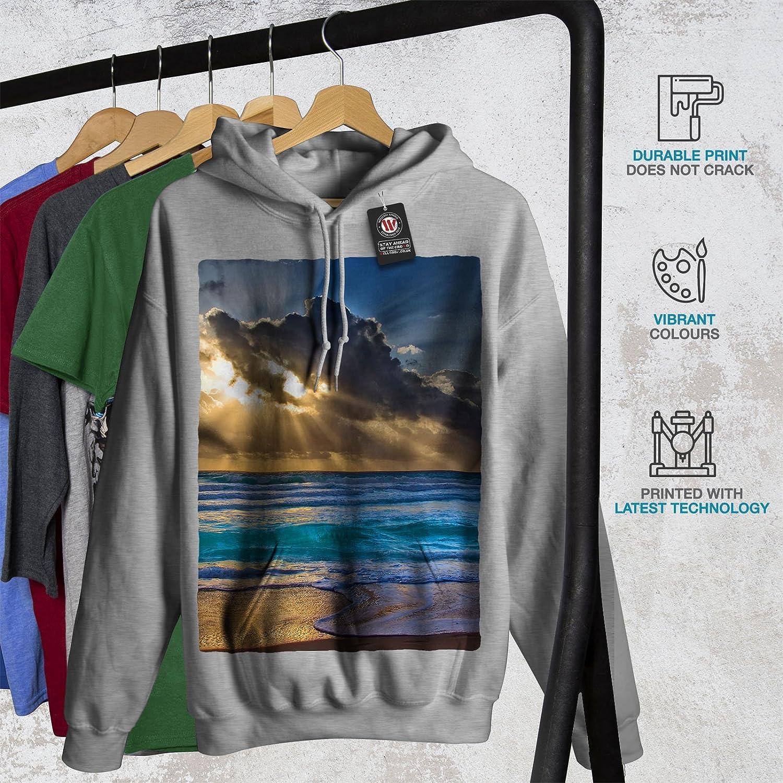 wellcoda Nature Landscape Water Mens Hoodie Blue Hooded Sweatshirt