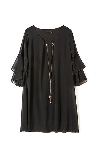Abito donna doppiato in raso con manica 3/4 e collana gioiello - bordeaux - abbigliamento donna- mad...
