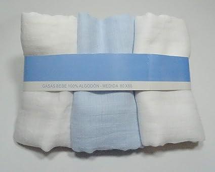 Paquete de 3 toallitas de gasas (Azul-Blanco)