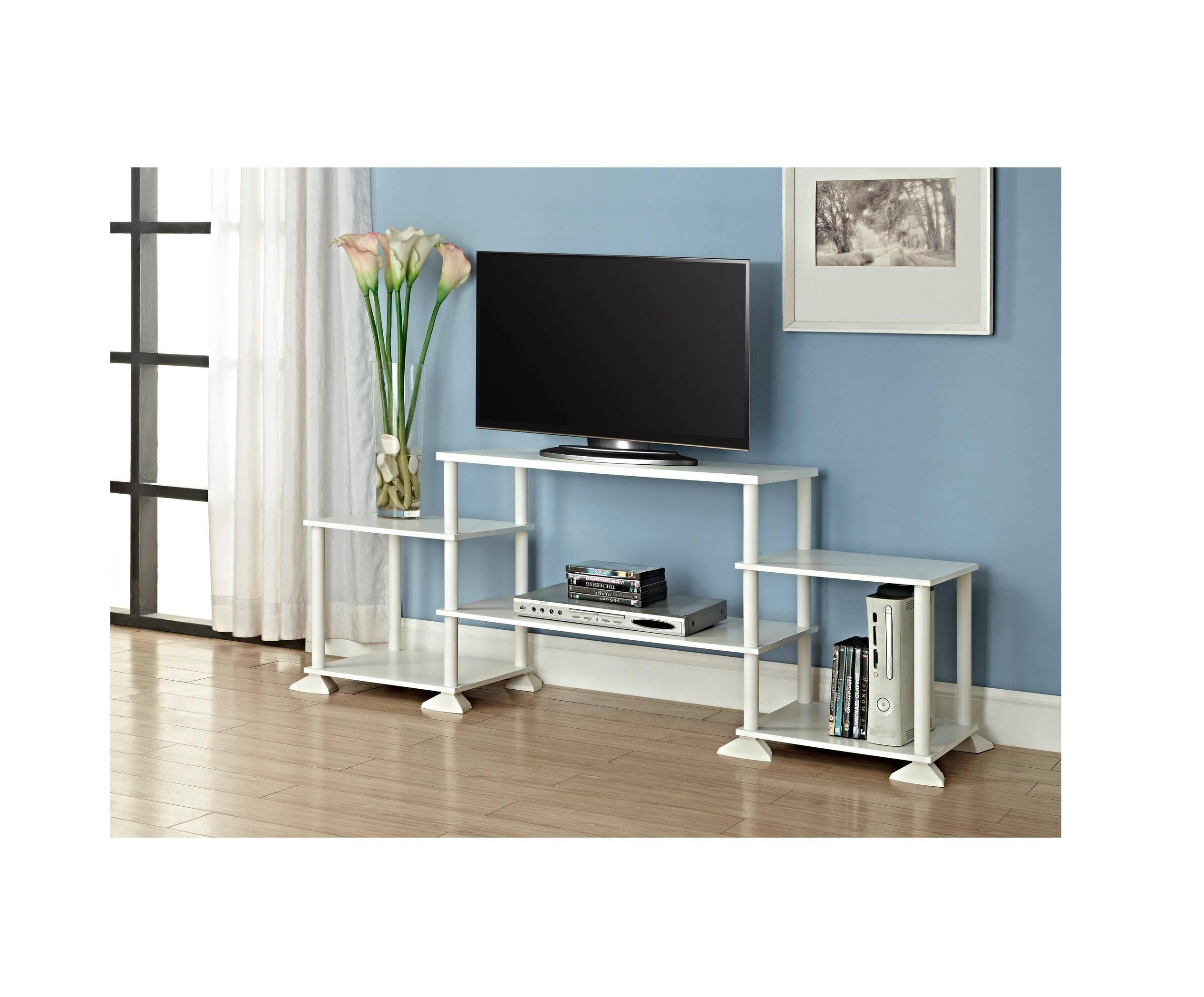 White TV Stand for TVs up to 40'' Entertainment Center 3 Cube Storage w/ Wire Clips