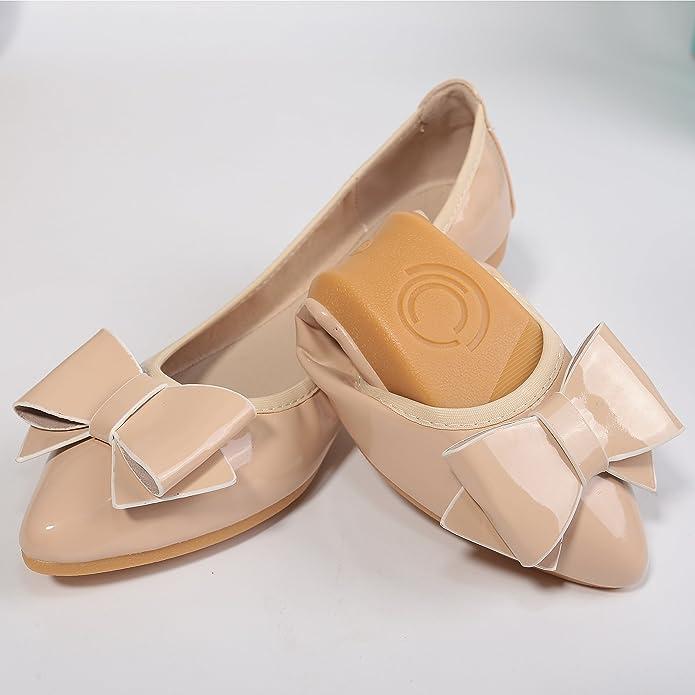644fbba190b Femme Chaussures Plates Mode Ballerines Pointu Chaussure Bateau Chaussure  Nœud Vernis Résistante  Amazon.fr  Chaussures et Sacs
