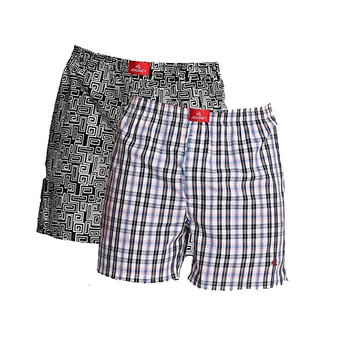 Jockey Men's Printed Boxer Shorts (US56, Multicolour, XL) - Pack of 2 Men's Boxer Shorts at amazon