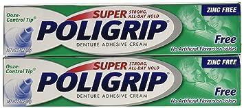 Amazon.com : Super Poligrip Denture Adhesive Cream: 2 Packs of 2.4 ...