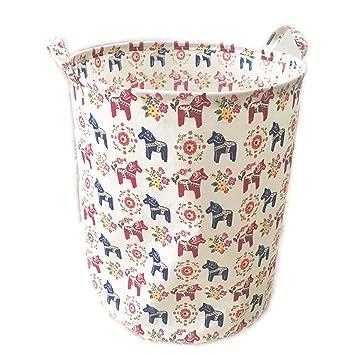 ECOHIP Large Storage Bin Swedish Dala Horse Fabric   Toy Box/ Toy Storage/  Toy