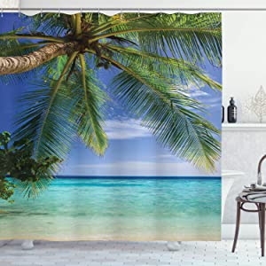 Ambesonne Ocean Shower Curtain, Tropical Paradise View at Maldives with Palms Clear Blue Sky Seashore Picture, Cloth Fabric Bathroom Decor Set with Hooks, 75